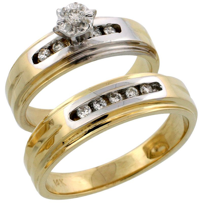 14k Gold 2-Piece Diamond Ring Set w/ Rhodium Accent ( Engagement Ring & Man's Wedding Band ), w/ 0.23 Carat Brilliant Cut Diamonds, ( 6mm; 6mm ) wide