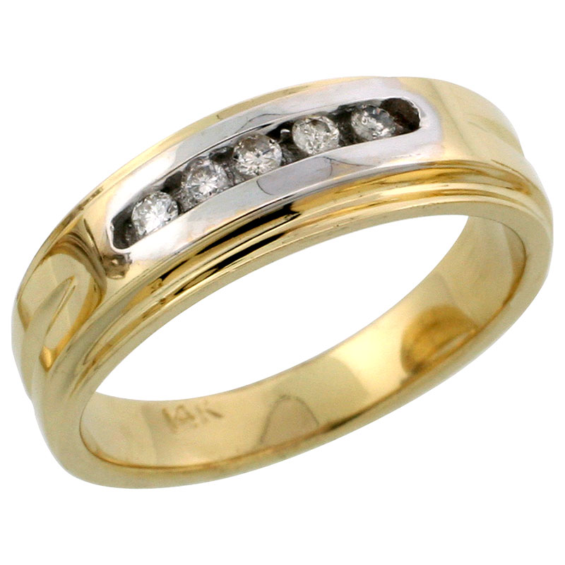 14k Gold Ladies' Diamond Band w/ Rhodium Accent, w/ 0.10 Carat Brilliant Cut Diamonds, 1/4 in. (6mm) wide
