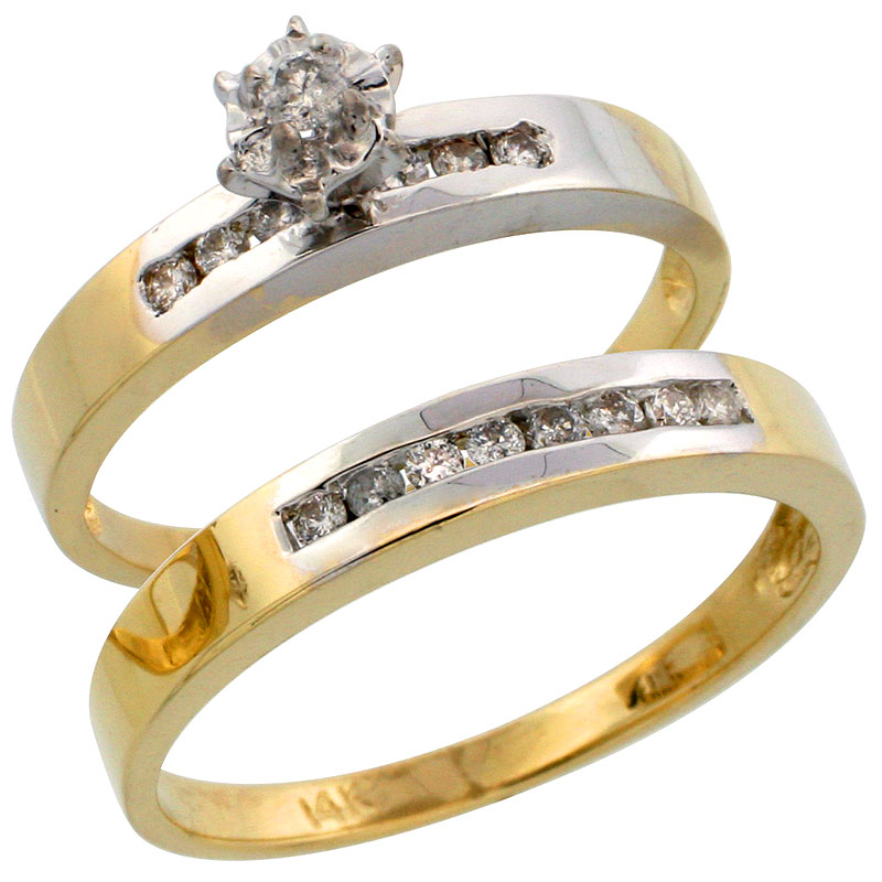 14k Gold 2-Piece Diamond Ring Set w/ Rhodium Accent ( Engagement Ring & Man's Wedding Band ), w/ 0.31 Carat Brilliant Cut Diamonds, ( 3mm; 3mm ) wide