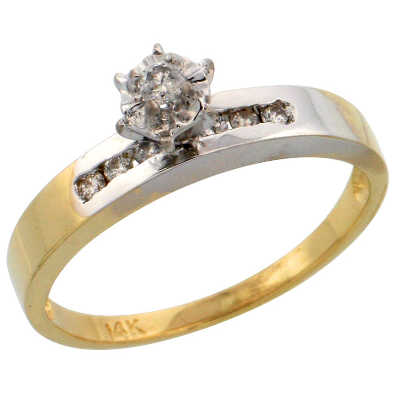 14k Gold Diamond Engagement Ring w/ Rhodium Accent, w/ 0.17 Carat Brilliant Cut Diamonds, 1/8 in. (3mm) wide