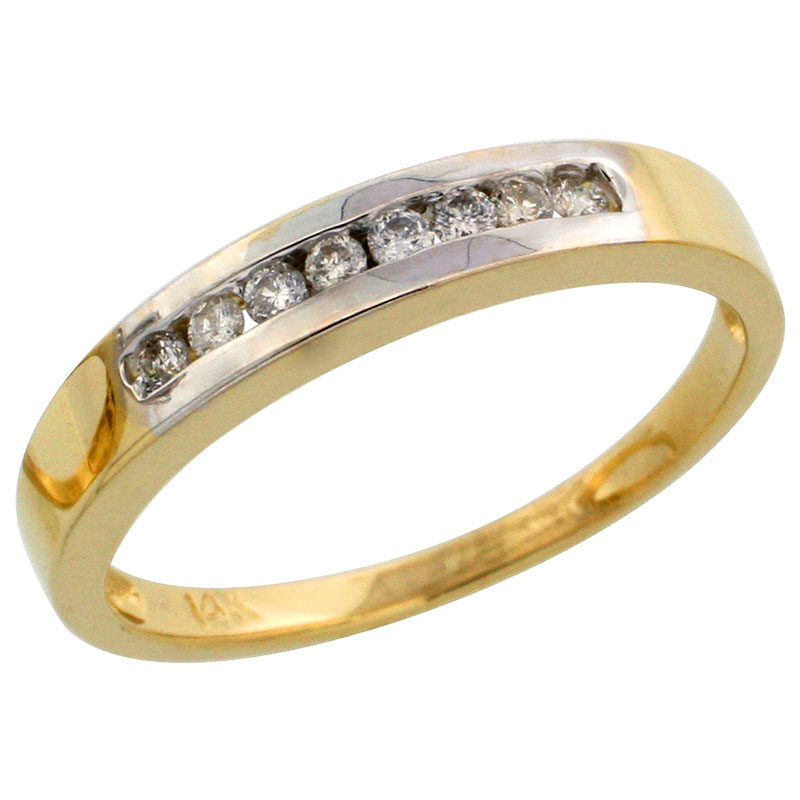 14k Gold Ladies' Diamond Band w/ Rhodium Accent, w/ 0.14 Carat Brilliant Cut Diamonds, 1/8 in. (3mm) wide