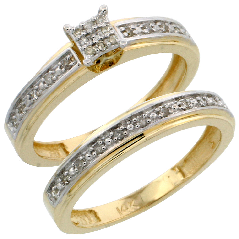 14k Gold 2-Piece Diamond Engagement Ring Set, w/ 0.21 Carat Brilliant Cut Diamonds, 5/32 in. (4mm) wide