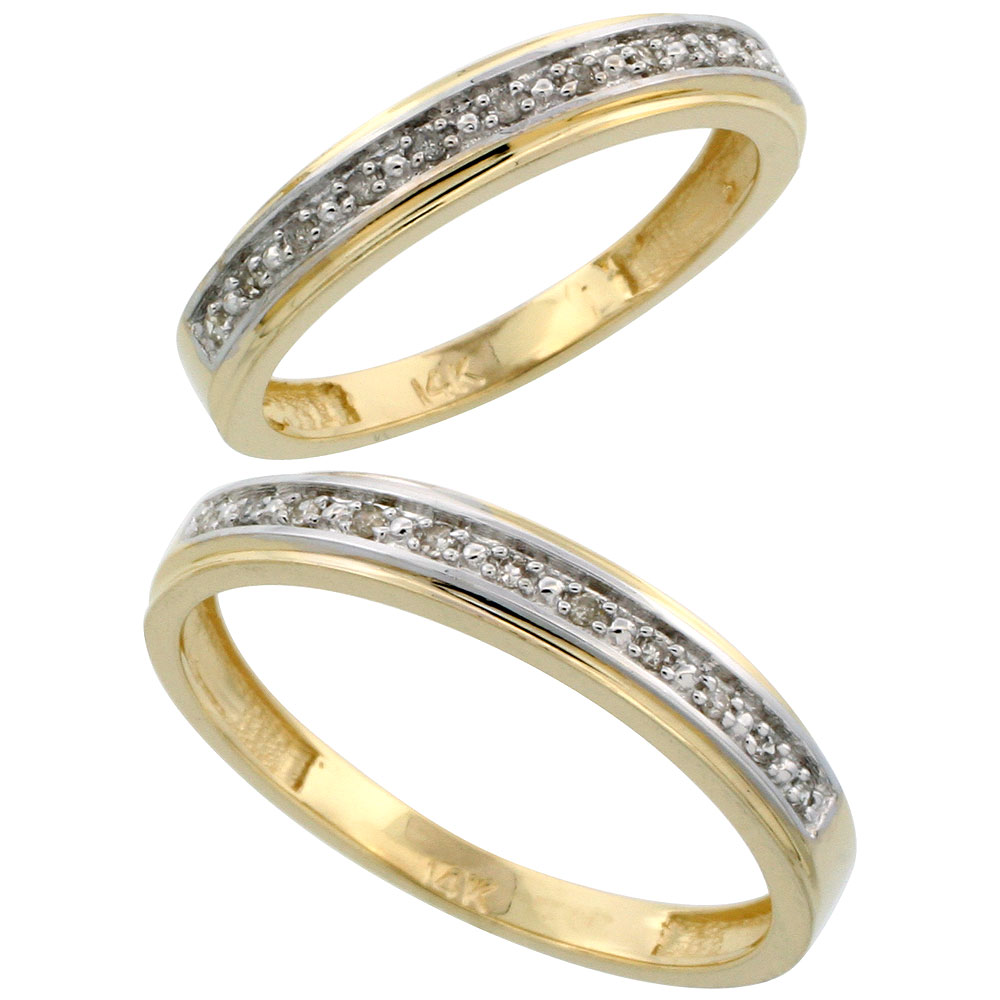 14k Gold 2-Piece His (4mm) & Hers (4mm) Diamond Wedding Band Set, w/ 0.16 Carat Brilliant Cut Diamonds; (Ladies Size 5 to10; Men's Size 8 to 14)