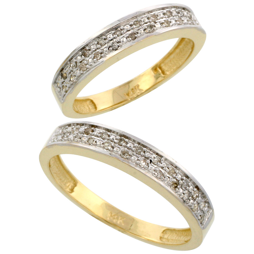 14k Gold 2-Piece His (4mm) & Hers (4mm) Diamond Wedding Band Set, w/ 0.20 Carat Brilliant Cut Diamonds; (Ladies Size 5 to10; Men's Size 8 to 14)
