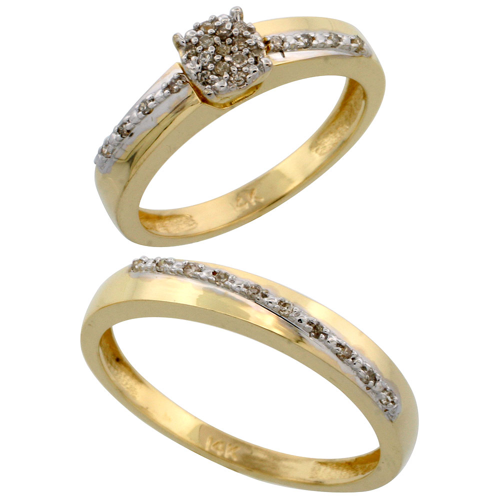 14k Gold 2-Piece Diamond Ring Set ( Engagement Ring & Man's Wedding Band ), 0.22 Carat Brilliant Cut Diamonds, 1/8 in. (3.5mm) wide