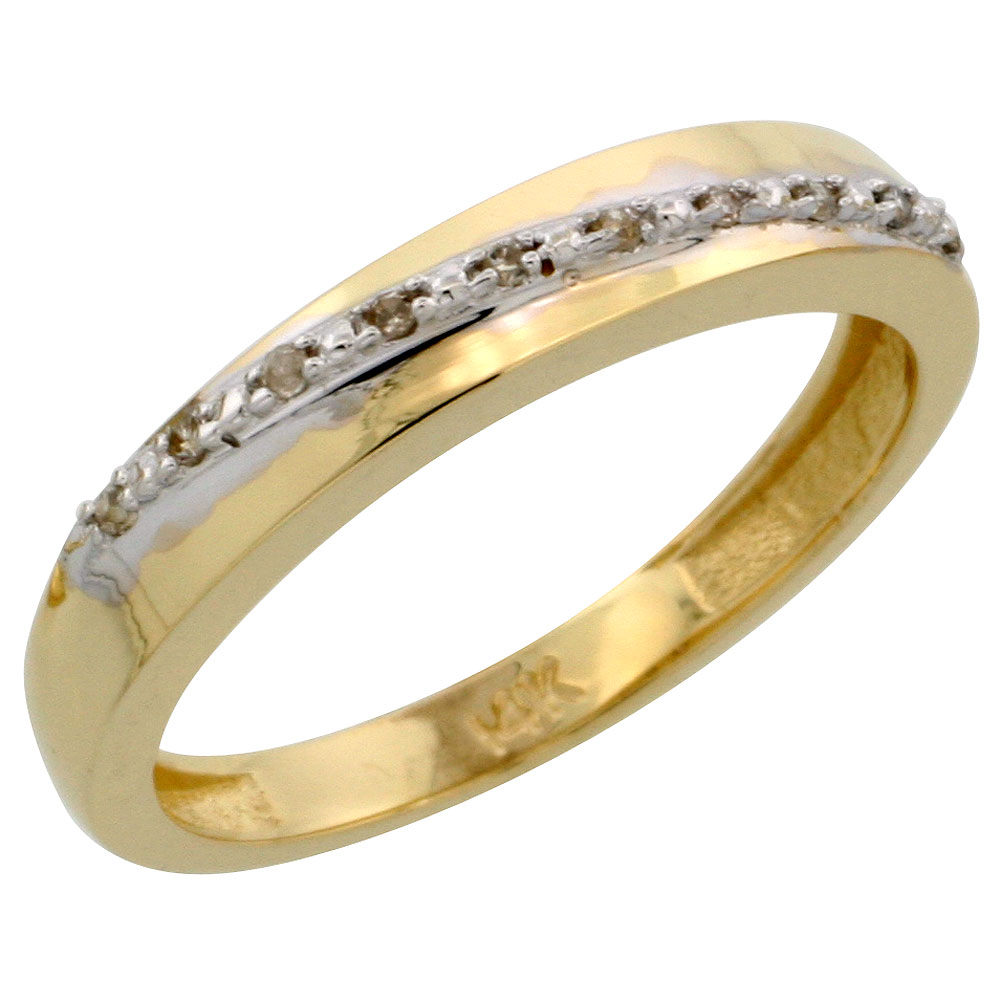 14k Gold Ladies' Diamond Band, w/ 0.08 Carat Brilliant Cut Diamonds, 1/8 in. (3.5mm) wide