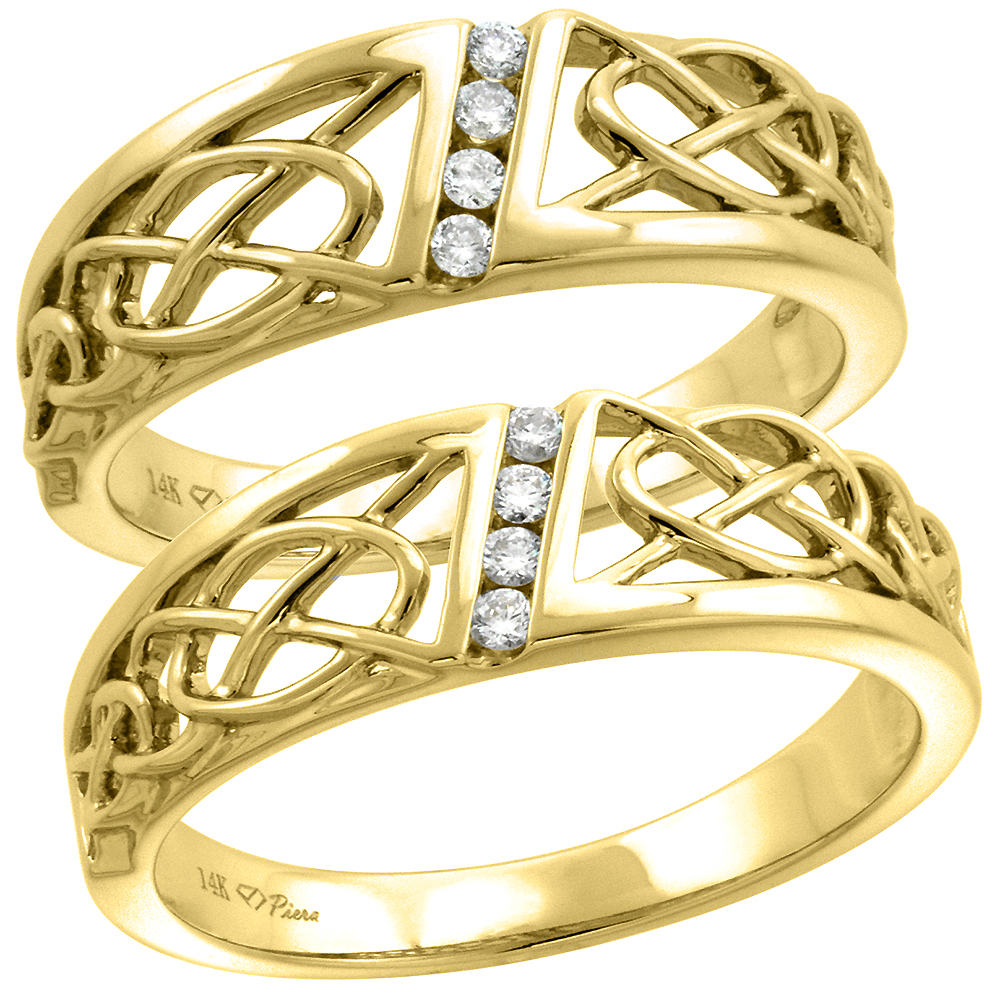 14k Yellow Gold Genuine Diamond 7mm His & 6mm Hers Celtic Knot Wedding Band Set 2 Piece 0.14ct, size 5-10