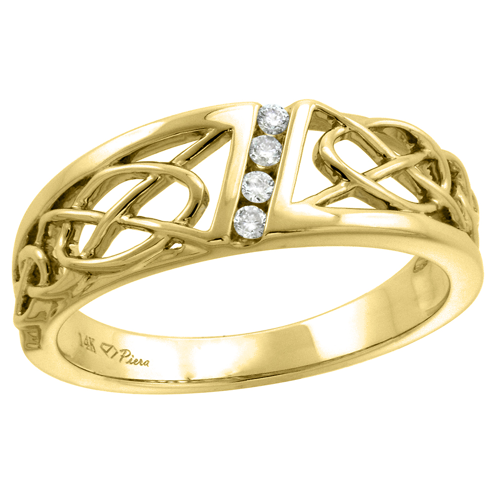 14k Yellow Gold Genuine Diamond Celtic Knot Wedding Band for Women 6mm 0.06 ct, size 5-10