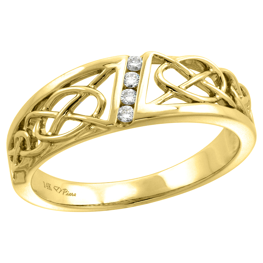 14k Yellow Gold Genuine Diamond Celtic Knot Wedding Band for Men 7mm 0.08 ct, size 8-14