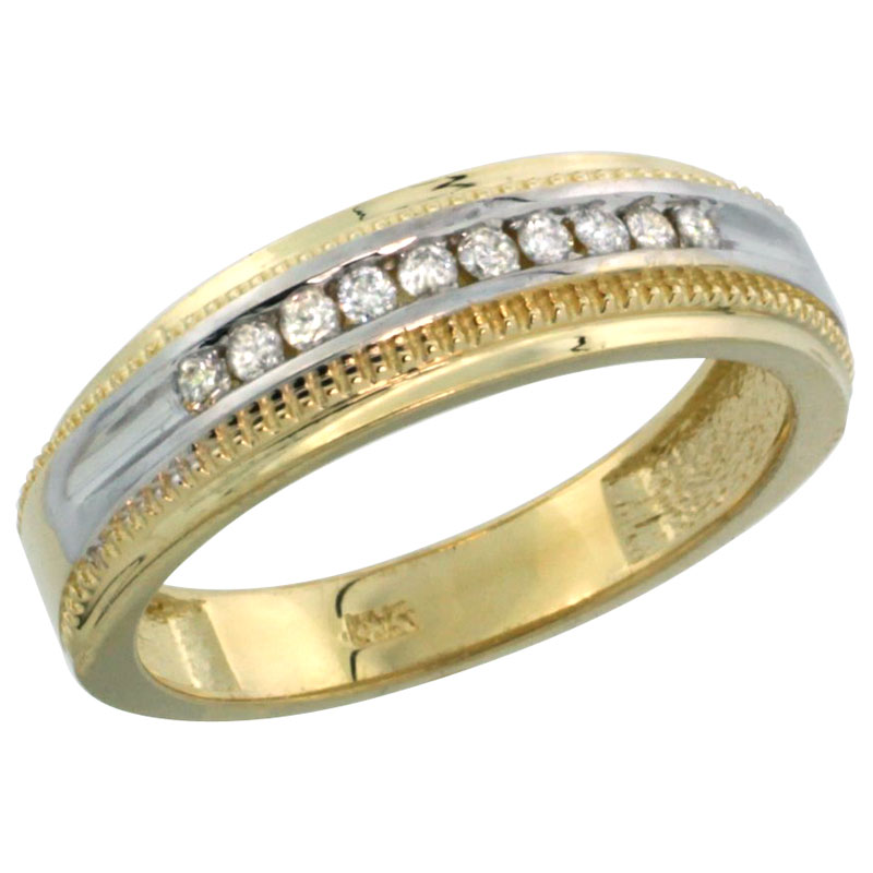 14k Gold 10-Stone Milgrain Design Ladies' Diamond Ring Band w/ 0.30 Carat Brilliant Cut Diamonds, 1/4 in. (6mm) wide