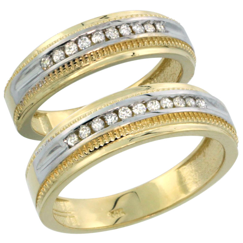 14k Gold 2-Piece His (6.5mm) & Hers (6mm) Diamond Wedding Ring Band Set w/ 0.60 Carat Brilliant Cut Diamonds; (Ladies Size 5 to10; Men's Size 8 to 12.5)