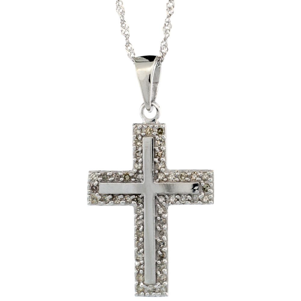 14k White Gold 18 in. Chain & 7/8 in. (23mm) tall Diamond Latin Cross Pendant, w/ 0.28 Carat Brilliant Cut Diamonds