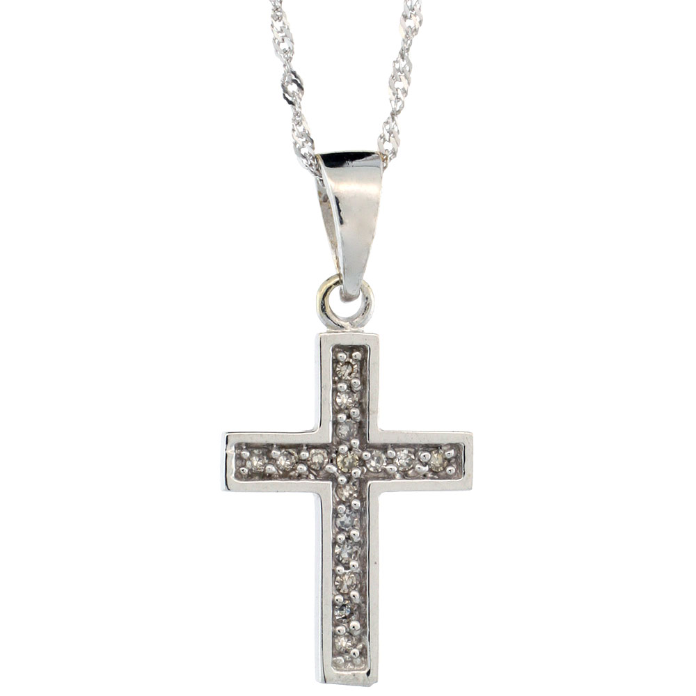 14k White Gold 18 in. Chain & 11/16 in. (18mm) tall Small Diamond Latin Cross Pendant, w/ 0.10 Carat Brilliant Cut Diamonds