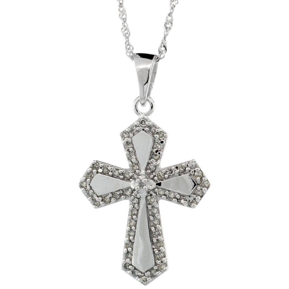 14k White Gold 18 in. Chain & 7/8 in. (22mm) tall Diamond Gothic Cross Pendant, w/ 0.31 Carat Brilliant Cut Diamonds