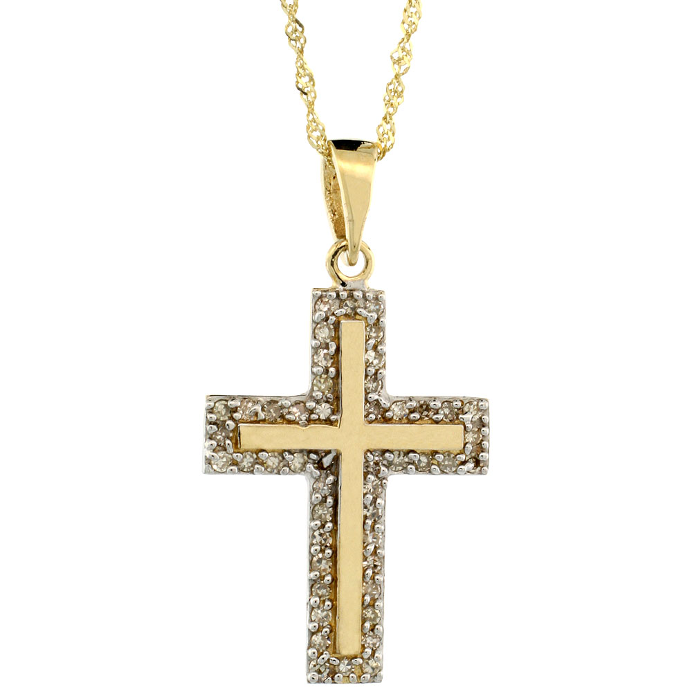 14k Gold 18 in. Chain & 7/8 in. (23mm) tall Diamond Latin Cross Pendant, w/ 0.28 Carat Brilliant Cut Diamonds