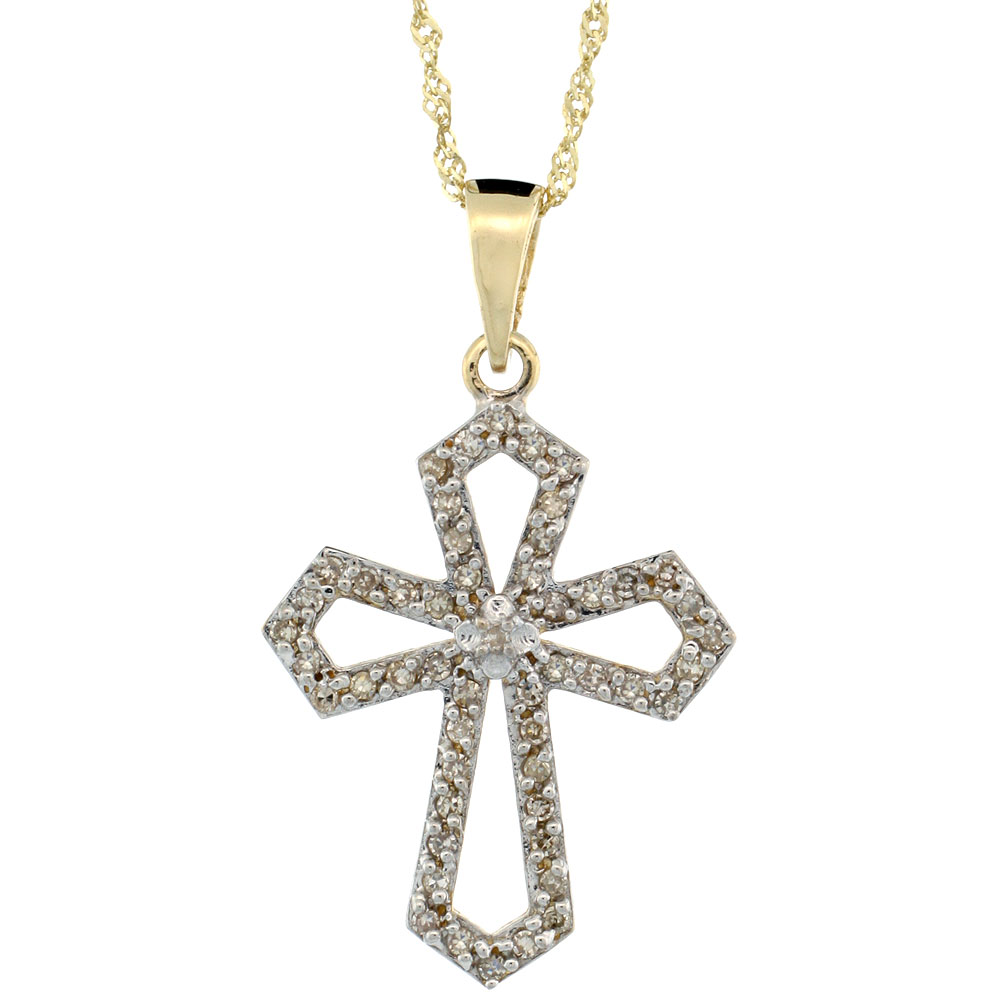 14k Gold 18 in. Chain & 7/8 in. (22mm) tall Diamond Gothic Cross Cut Out Pendant, w/ 0.31 Carat Brilliant Cut Diamonds