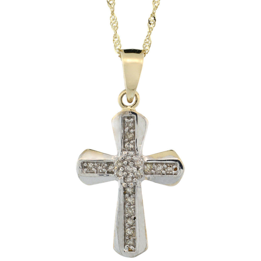 14k Gold 18 in. Chain & 13/16 in. (21mm) tall Diamond Clustered Cross Pendant, w/ 0.14 Carat Brilliant Cut Diamonds