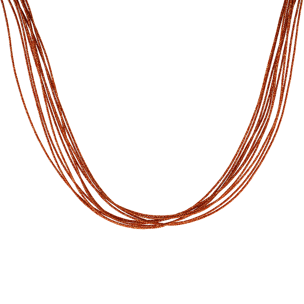 Japanese Silk Necklace 10 Strand Orange, Sterling Silver Clasp, 18 inch