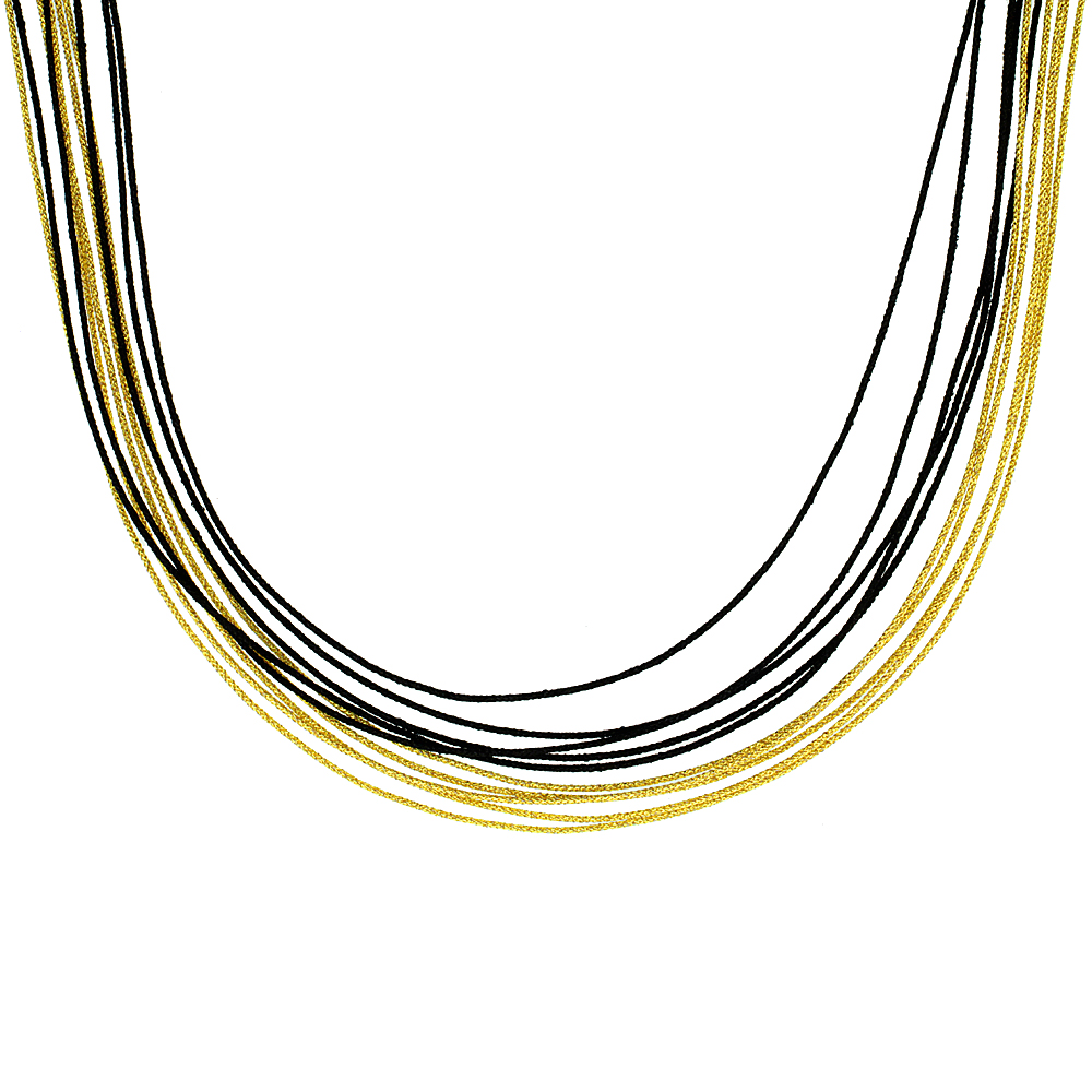Japanese Silk Necklace 10 Strand Black & Yellow, Sterling Silver Clasp, 18 inch