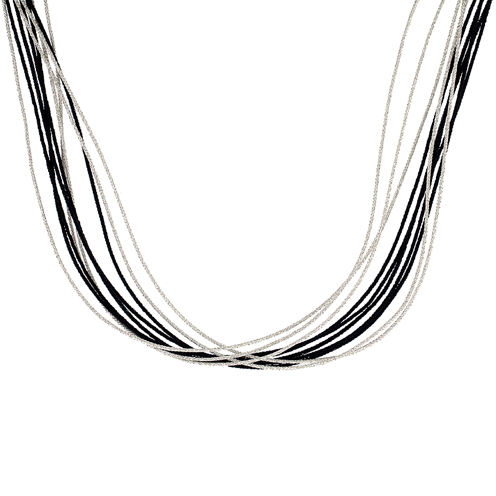 Japanese Silk Necklace 10 Strand Black & Silver, Sterling Silver Clasp, 18 inch
