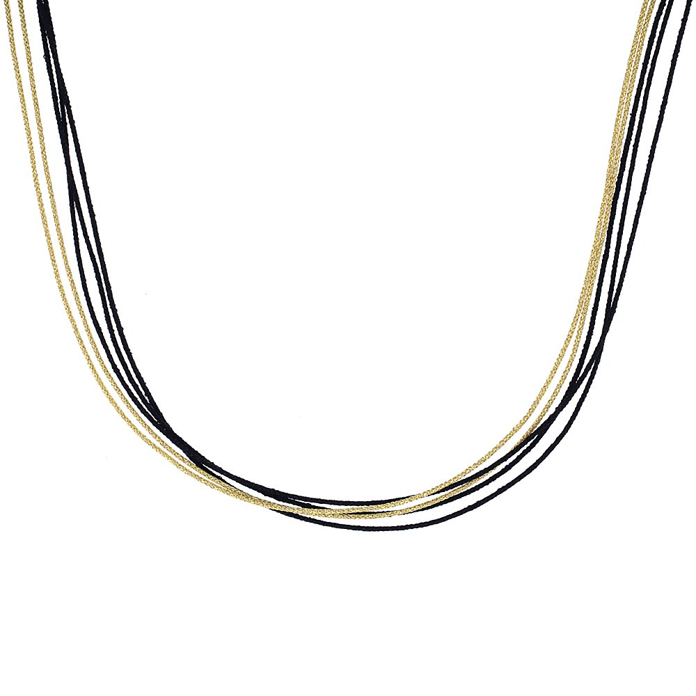 Japanese Silk Necklace 5 Strand Yellow and Black, Sterling Silver Clasp, 18 inch