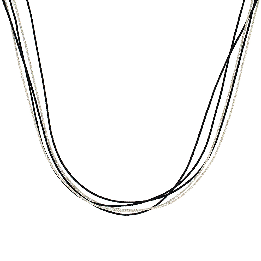 Japanese Silk Necklace 5 Strand Black & Silver, Sterling Silver Clasp, 18 inch