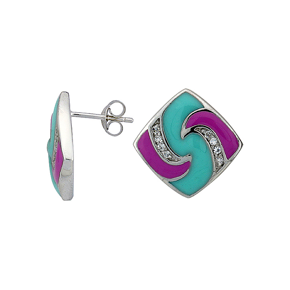 "Sterling Silver 3/4"" (19 mm) tall Post Earrings, Rhodium Plated w/ CZ Stones, Pink & Blue Enamel Designs"