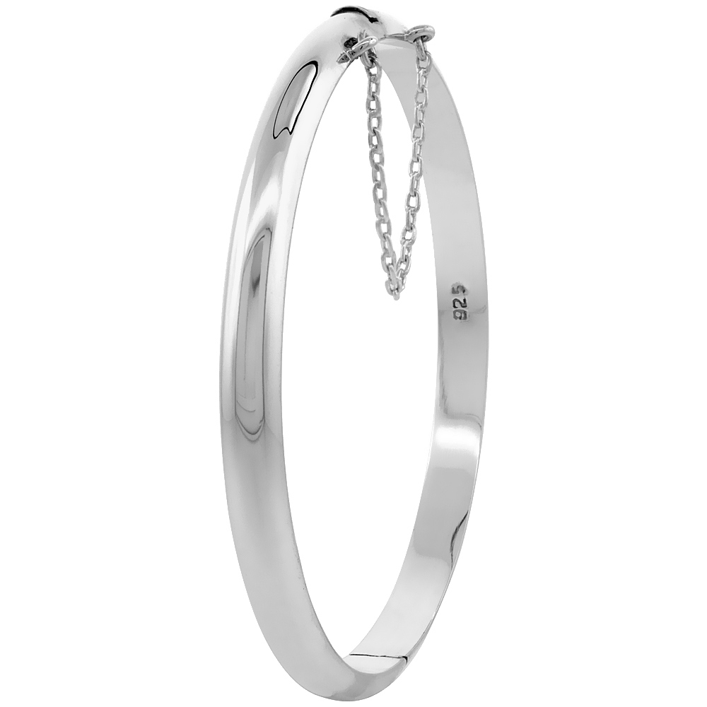 Sterling Silver Baby Bracelet Bangle 6 inch Junior High Polished Safety Chain, 3/16 inch wide