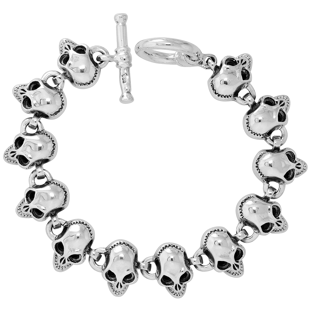 Sterling Silver Heavy Skull Bracelet for Men 5/8 inch wide, 8 inch long