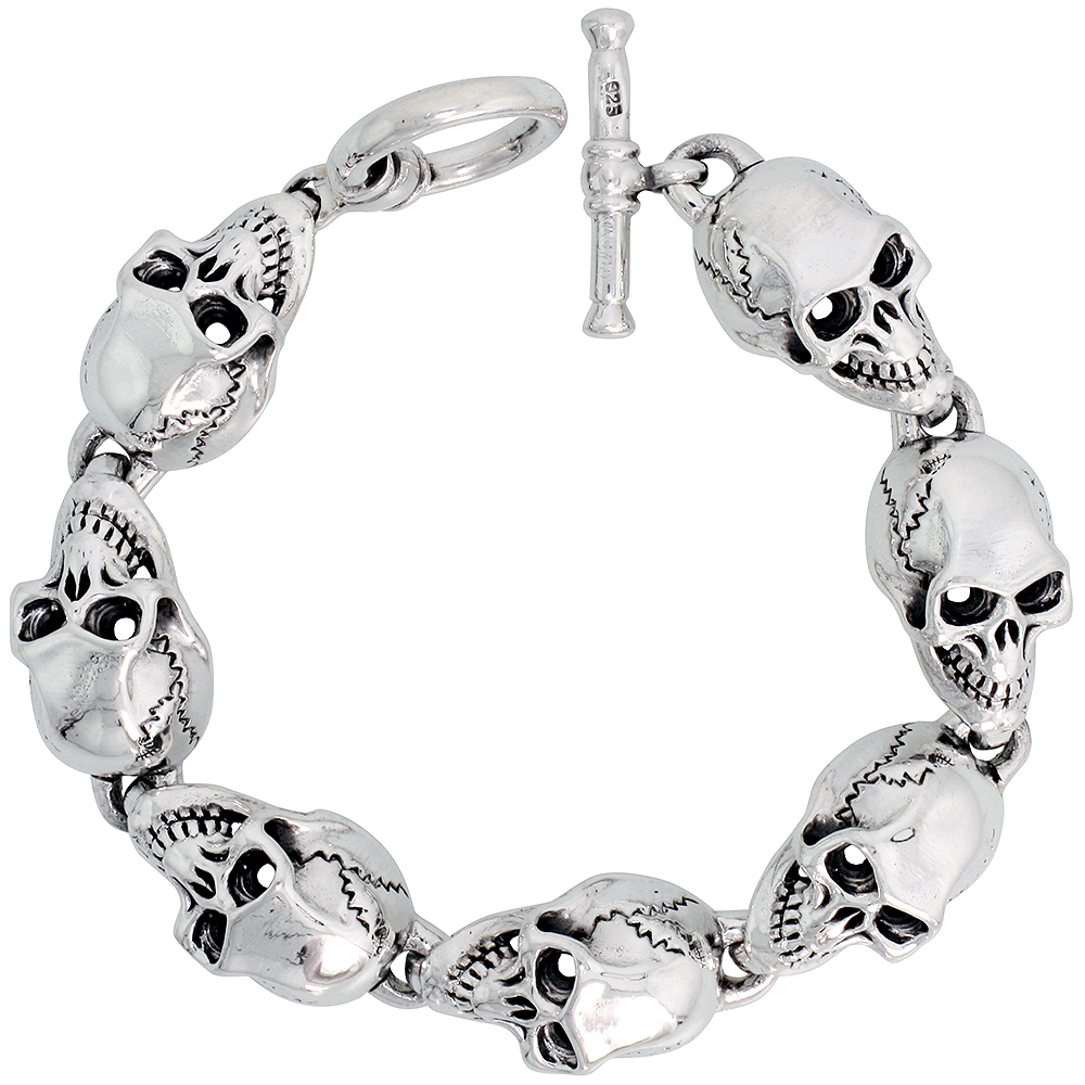 Sterling Silver Heavy Skull Bracelet for Men 9/16 inch wide, 8 inch long