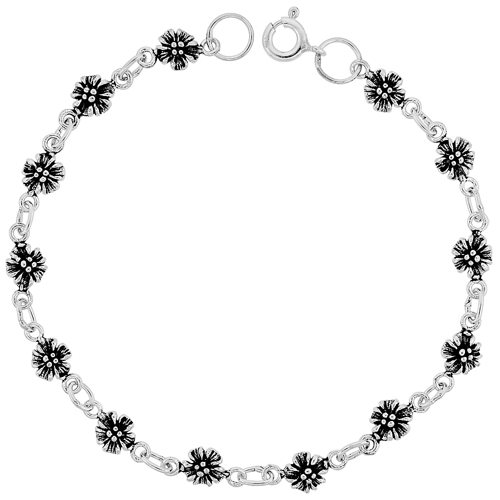 Dainty Sterling Silver Flower Bracelet for Women and Girls, 1/4 wide 7.5 inch long