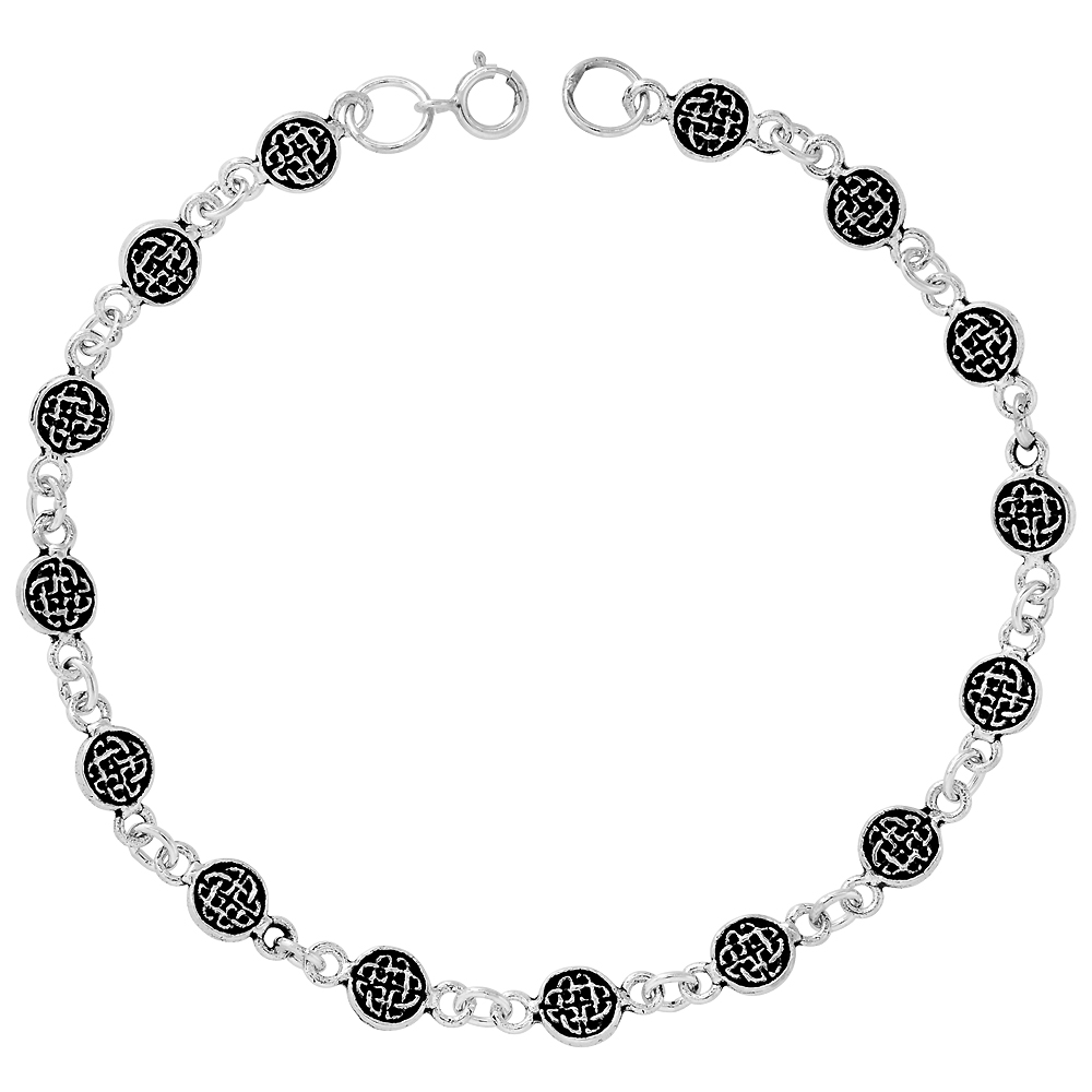 Dainty Sterling Silver Celtic Bracelet for Women and Girls, 1/4 wide 7.5 inch long
