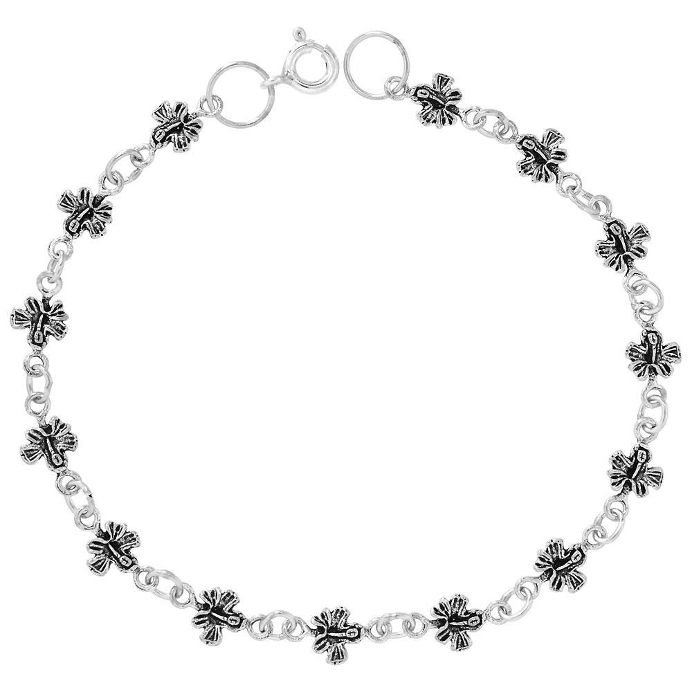 Sterling Silver Dainty Butterfly Bracelet for Women and Girls, 1/4 wide 7.5 inch long