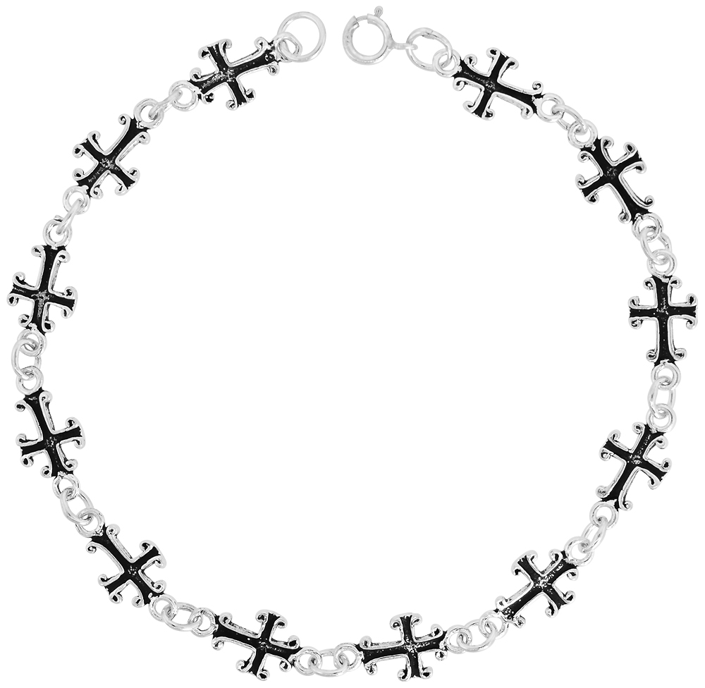 Dainty Sterling Silver Cross Bracelet for Women and Girls, 5/16 wide 7.5 inch long