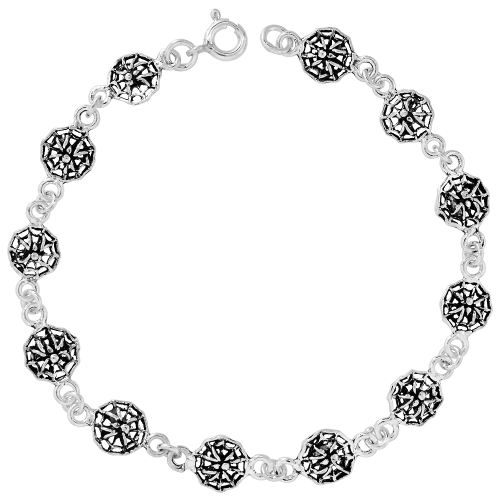 Sterling Silver Dainty Spider and Web Bracelet for Women and Girls, 3/8 wide 7.5 inch long