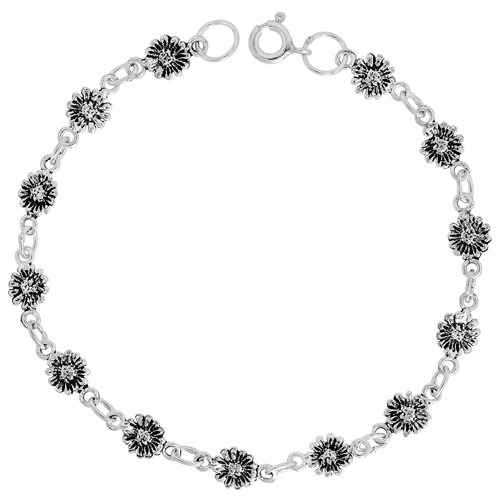 Sterling Silver Dainty Sunflower Bracelet for Women and Girls, 1/4 wide 7.5 inch long