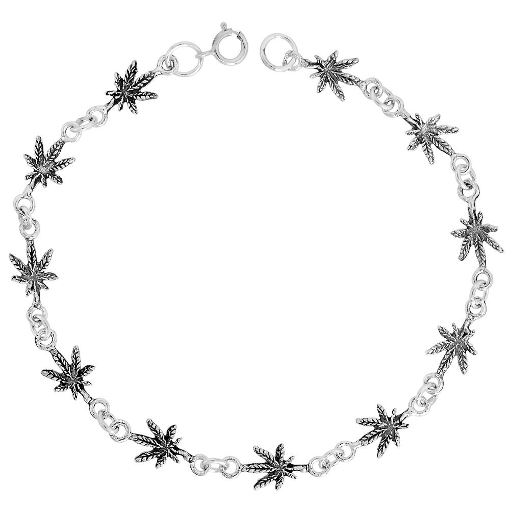 Sterling Silver Dainty Leaf Bracelet for Women and Girls, 1/4 wide 7.5 inch long