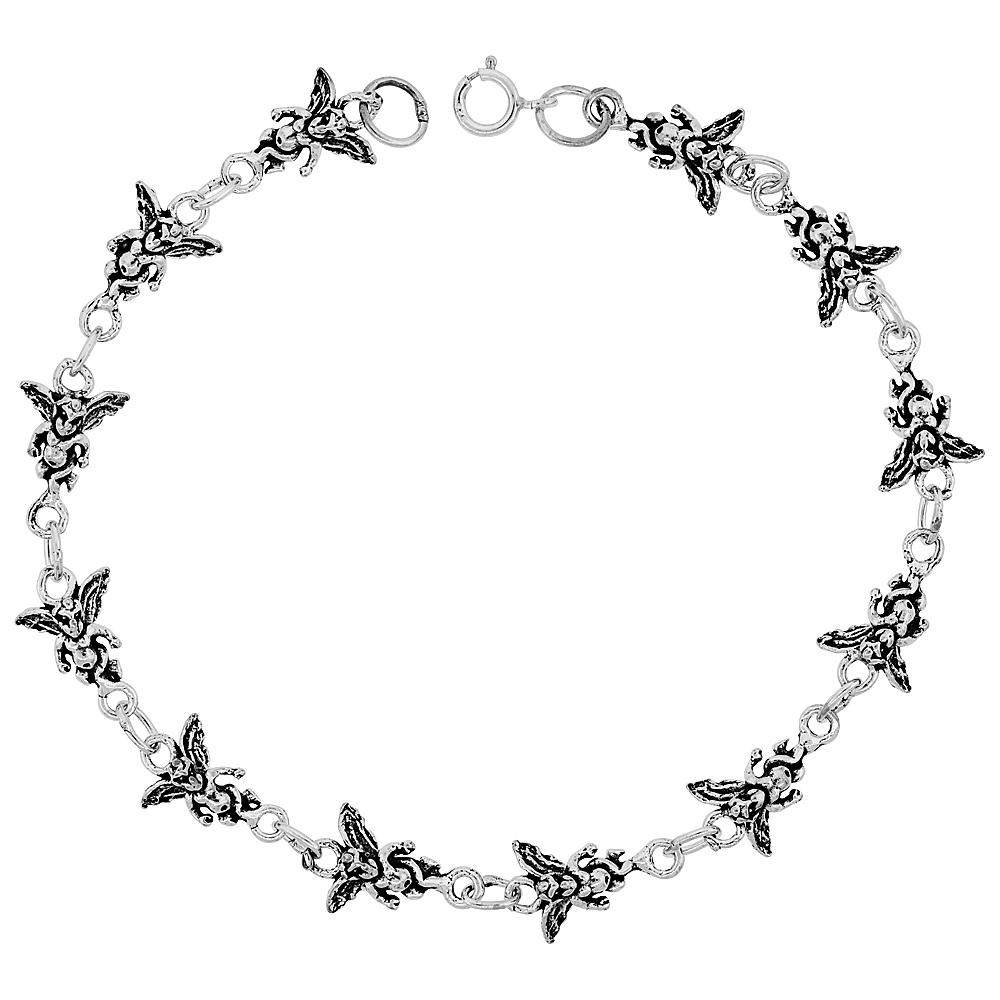 Dainty Sterling Silver Guardian Angel Bracelet for Women and Girls, 3/8 wide 7.5 inch long