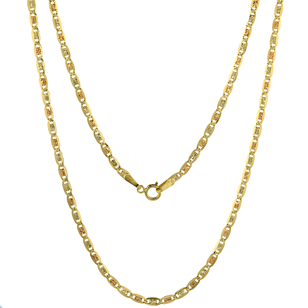 10K Solid Yellow Gold Valentino Chain Necklaces Tricolor Diamond cut 2.1mm Nickel Free, 16-24 inches long