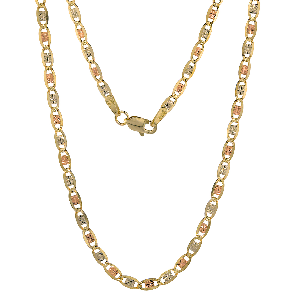 10K Solid Tri-color Gold Valentino Chain Necklaces Diamond cut 2.8mm Nickel Free, 16-24 inches long
