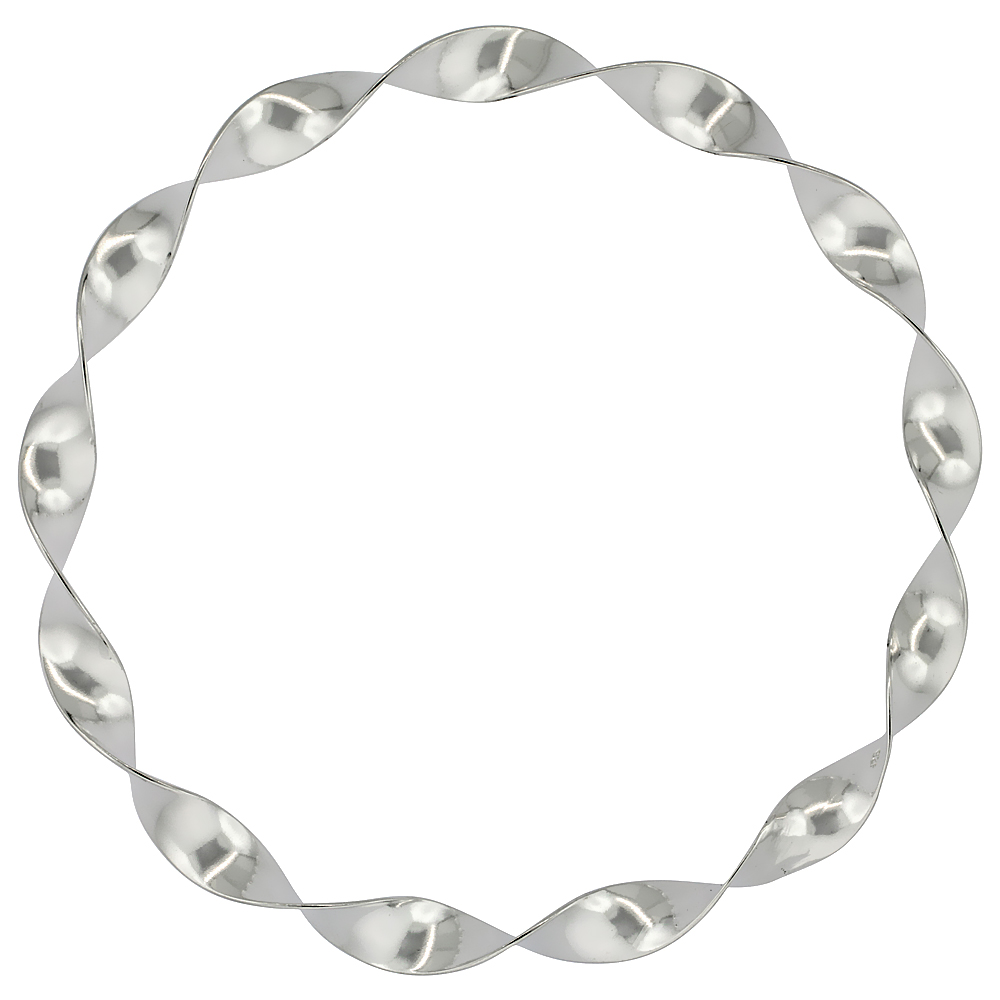 Sterling Silver Slip-On Bangle Bracelet Thick Spiral Design, 7 1/2 inches wide