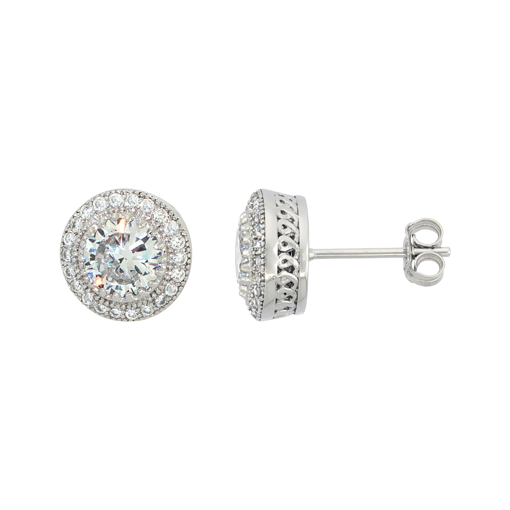 Sterling Silver Cubic Zirconia Micro Pave Halo Stud Earrings 1 ct Center 3/8 inch
