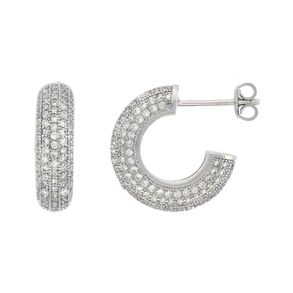 Sterling Silver Cubic Zirconia Micro Pave Post Hoop Earrings 5/8 inch