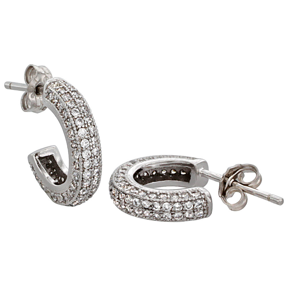 Sterling Silver Cubic Zirconia Micro Pave Post Hoop Earrings 1/2 inch