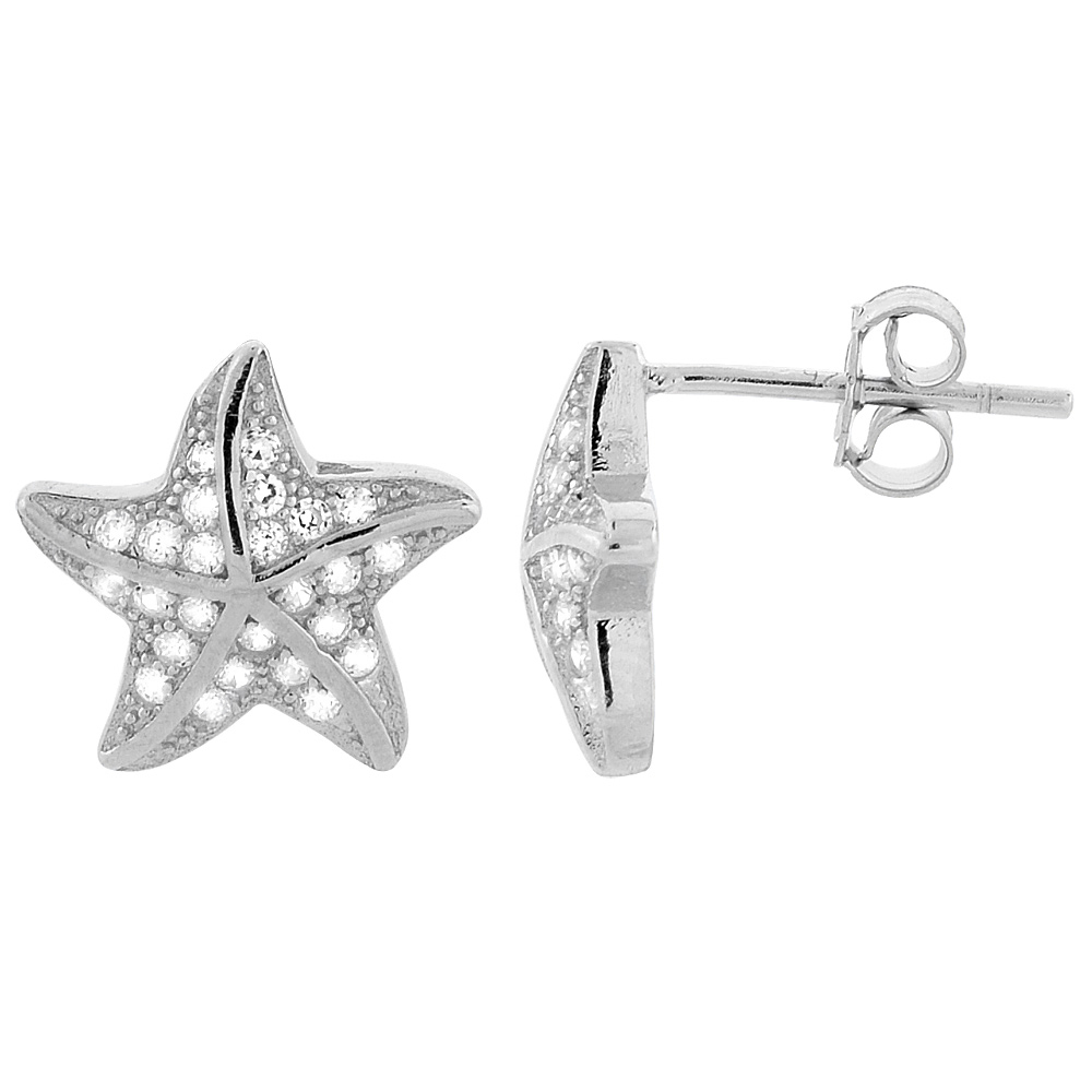 Sterling Silver Cubic Zirconia Micro Pave Starfish Stud Earrings 7/16 inch wide