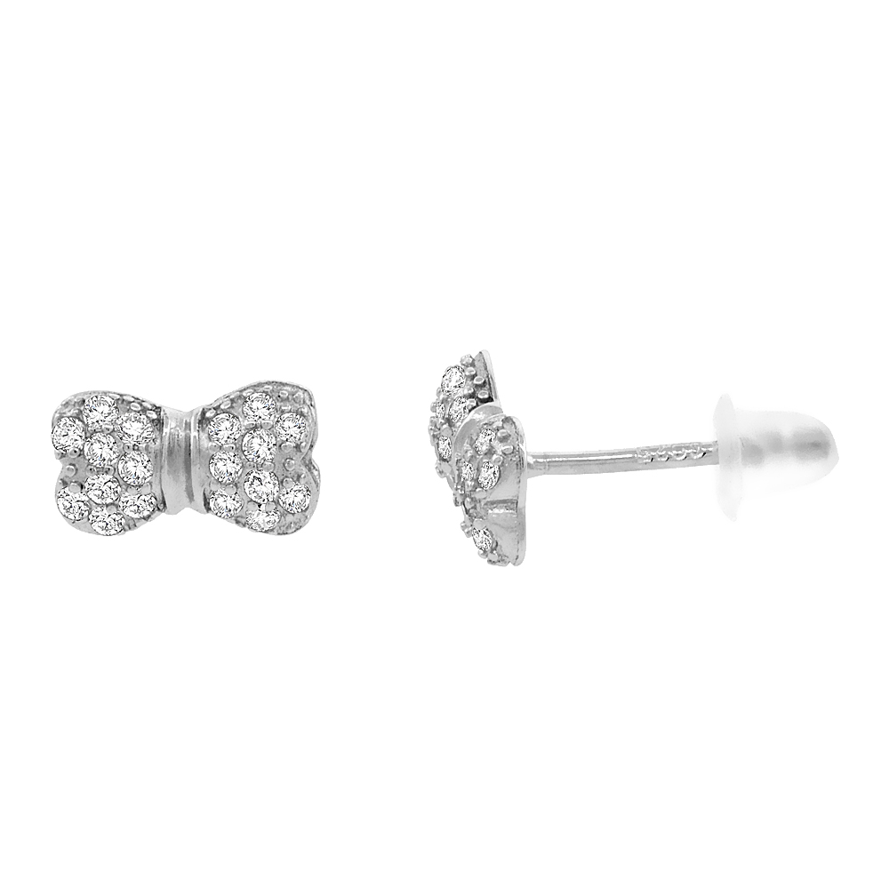 Sterling Silver Cubic Zirconia Micro Pave Bow Stud Earrings, 3/16 inch long