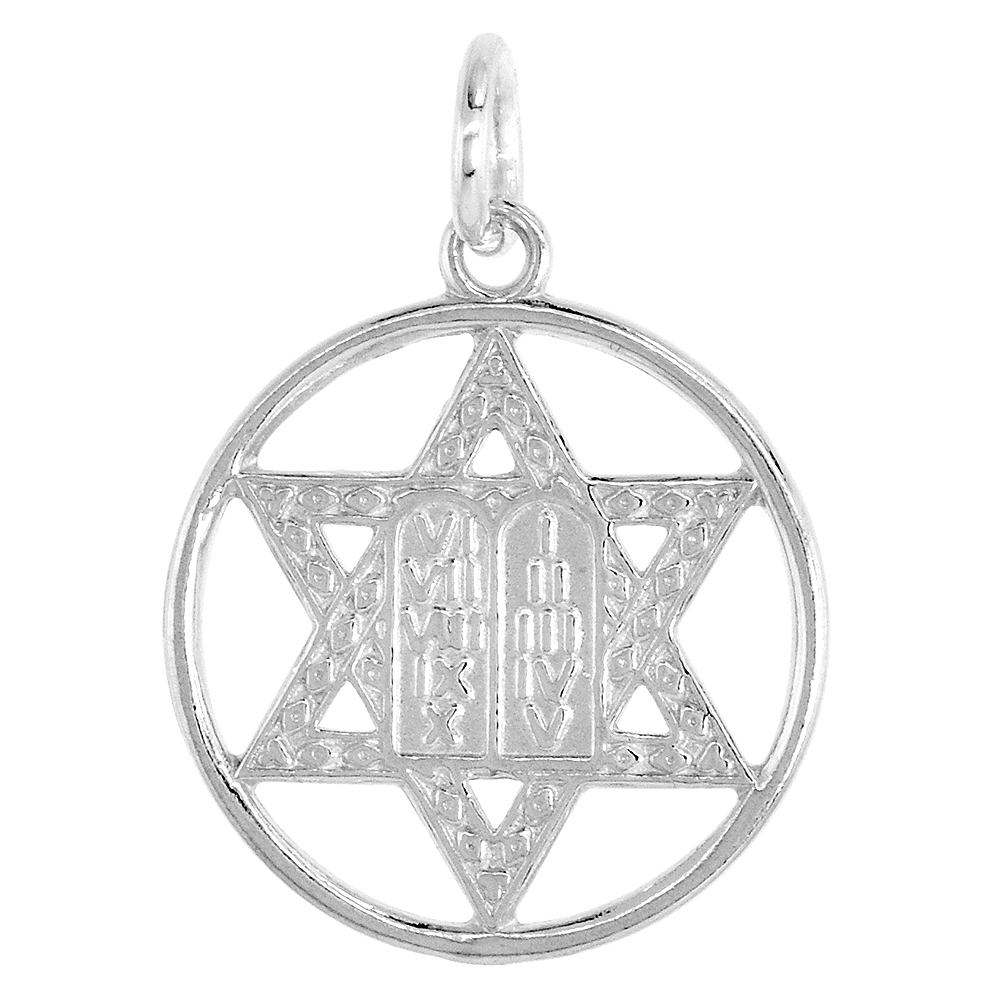 Small Sterling Silver Star of David Pendant with 10 Commandments 3/4 inch round
