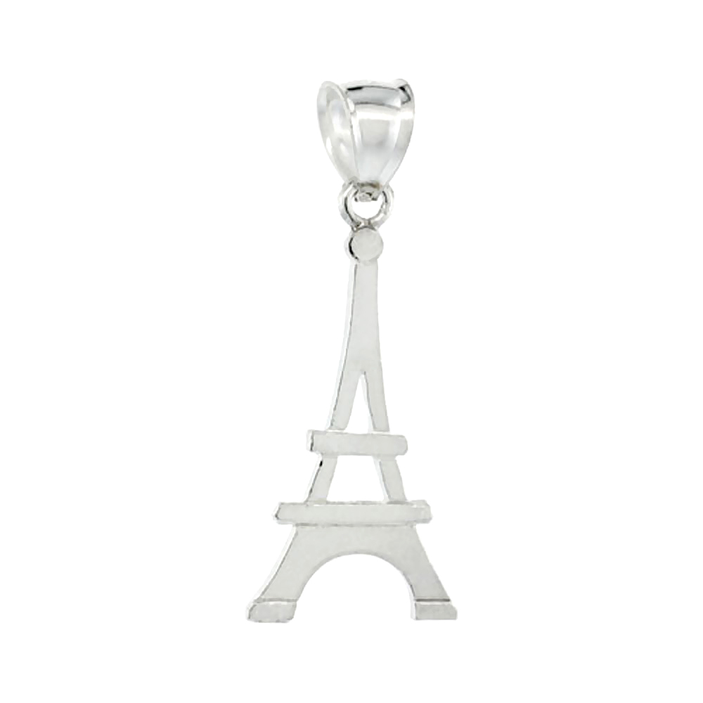 Sterling Silver Eiffel Tower Pendant, 3/8 inch