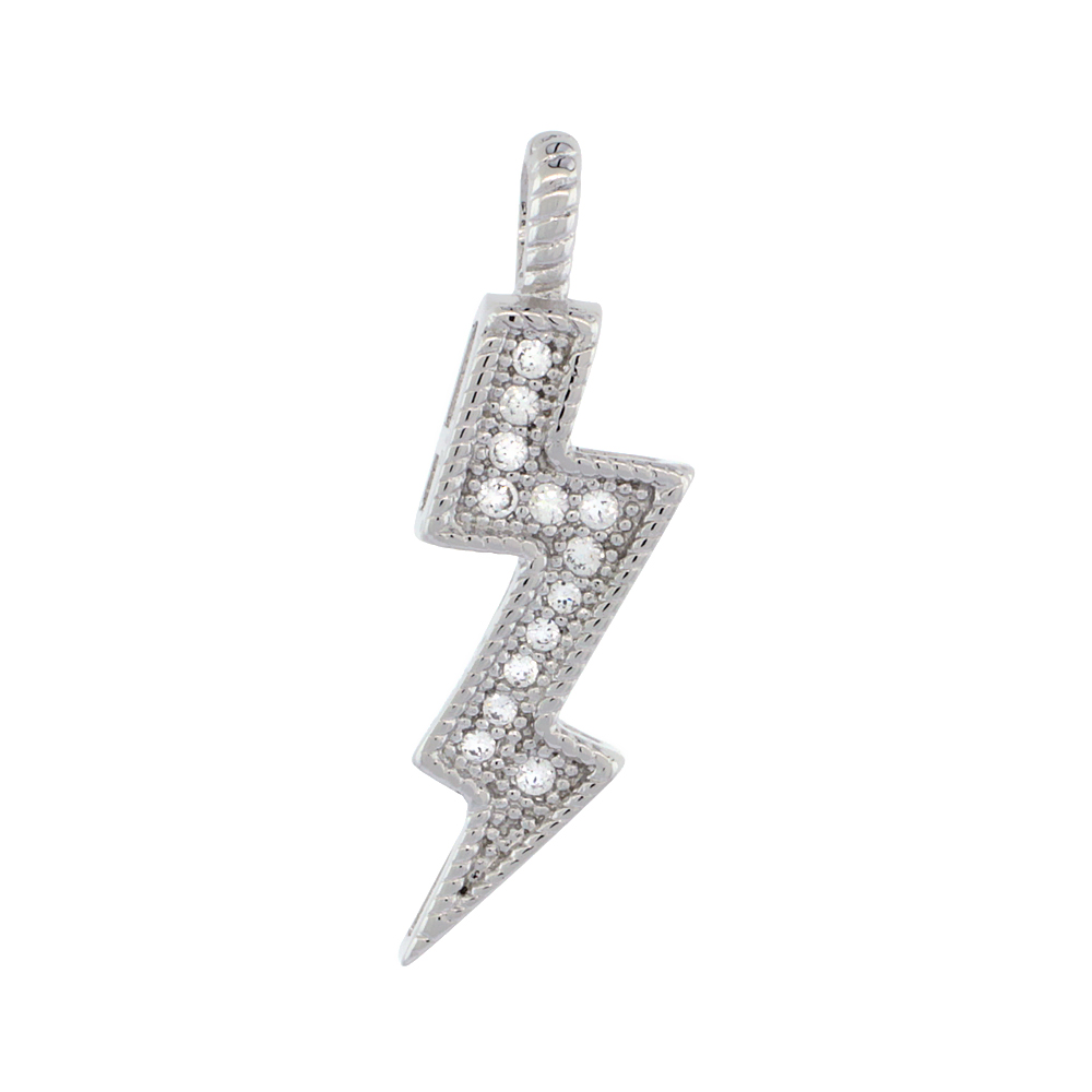 Sterling Silver Cubic Zirconia Lightning Bolt Pendant Micro Pave 7/8 inch