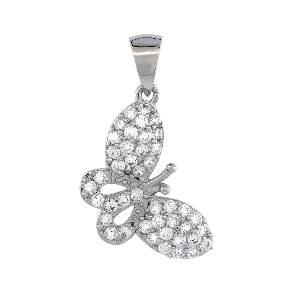 Sterling Silver Cubic Zirconia Butterfly Pendant Micro Pave 3/4 inch